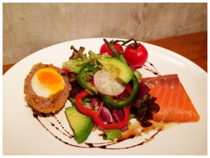 Scotch Eggs with 43 degree Slow-Cooked Salmon, served with a fresh salad