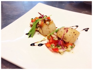 Seared Scallop with Bell Pepper Salsa.